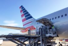 An American Airlines Boeing 767 gets loaded at Heathrow Airport