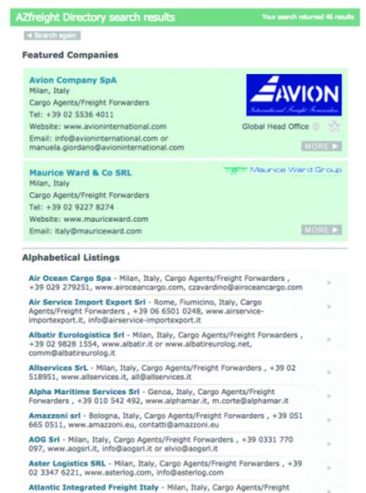 Screen grab directory - AIR CARGO WEEK