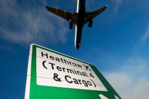Heathrow Airport, perimeter road, wayfinding signage, February 2013.