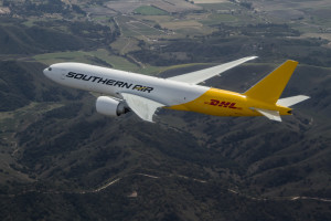 Southern Air DHL Boeing 777-FZB N714SA over Southern California. Filmed by Astrovision - March 23, 2012