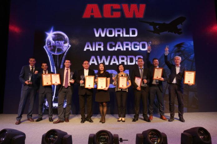 Winners hold their trophies aloft at the Air Cargo Week World Air Cargo Awards 2016 in Shanghai