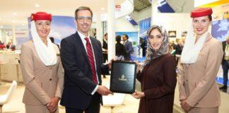 va-Q-tec MD, Dominic Hyde with Emirates SkyCargo VP of cargo product development and local affairs, Moaza Al Falahi