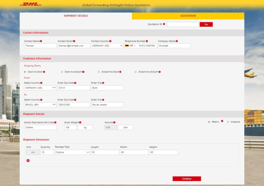 Dhl Global Forwarding Online Freight Quotation And Booking For Web
